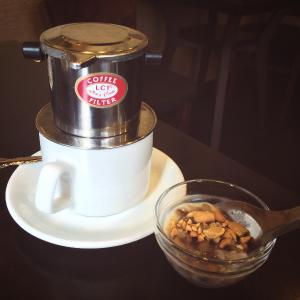ベトナムミルクコーヒーとパンダ豆のチェー