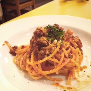 蝦夷鹿とゴボウのラグーソースのスパゲッティ